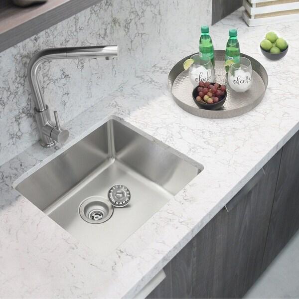 "19 3/4"" L X 17 3/4"" W Undermountor Drop-in Stainless Steel Single Bowl Kitchen Sink with (18 Gauge)"