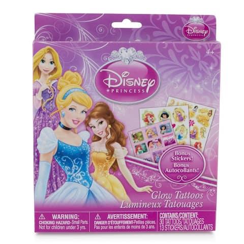 Disney Princess Temporary Glow Tattoo Set 43 Piece w/ Bonus Stickers (Ages 4+) - Pink