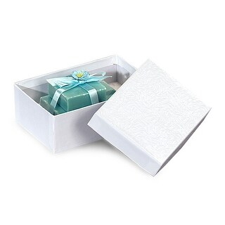 "Pack of 100, Solid 5.5 X 3.5 X 2"" White Swirl Jewelry Boxes w/Cotton Fill Great For Small Gifts"