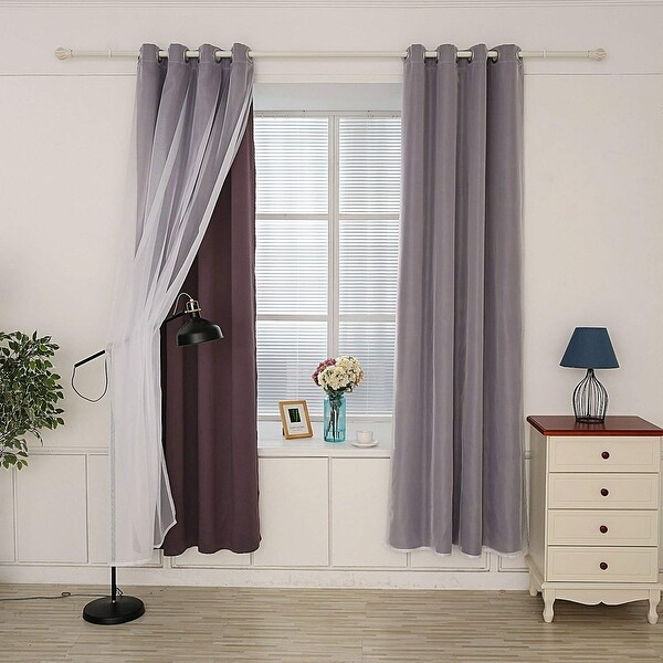 shop hello laura triple weave thermal blackout grommet window curtain l 100 x w 84 free. Black Bedroom Furniture Sets. Home Design Ideas