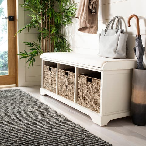 "Safavieh Lonan White 3-drawer Wicker Storage Bench - 47"" W x 16.1"" L x 19.9"" H"