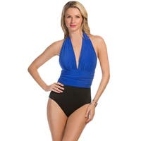 Magicsuit Electric Blue DD-Cup Yves Plunge Halter One Piece Swimsuit