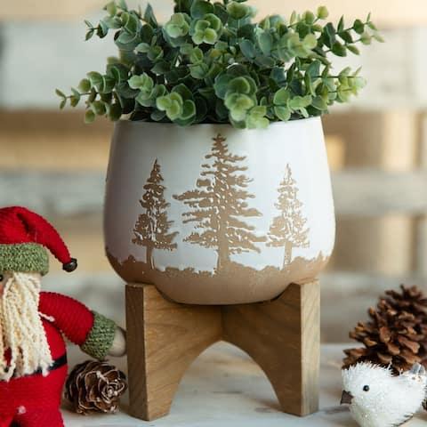 "6"" Ceramic Christmas Planter on Wood Stand"