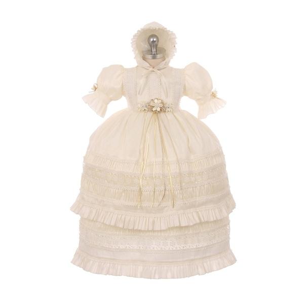 RainKids Little Girls Ivory Shantung Trim Ruffle 3 Pc Bonnet Baptism Gown