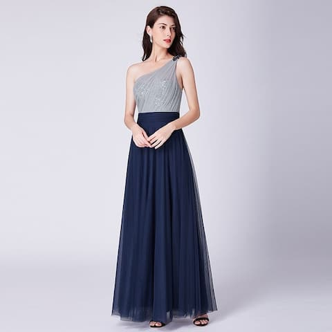 Ever-Pretty Women's One Shoulder Sequin Prom Party Bridesmaid Dress 07404