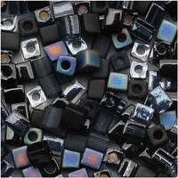 Miyuki 4mm Glass Cube Bead Mix Black Medley 10 Grams