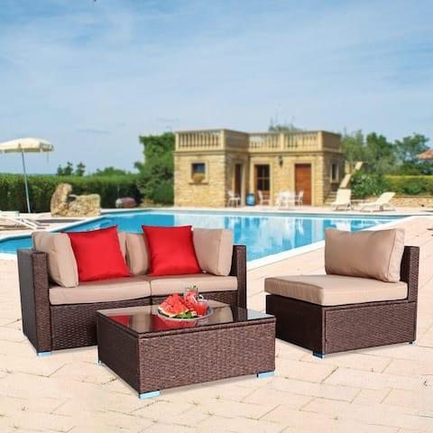 Outdoor 4-Piece Wicker Sectional Sofa Patio Conversation Set