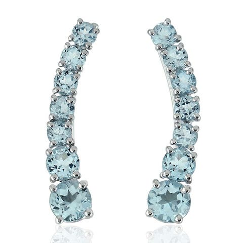 Natural Topaz Ear Climber Earrings 925 Sterling Silver Jewelry With Free Jewelry Box