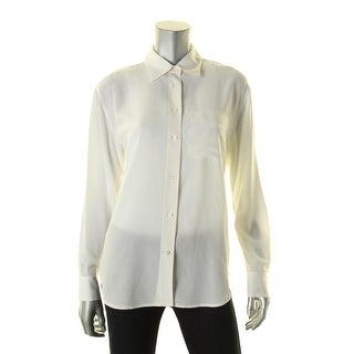 Lauren Ralph Lauren Womens Button-Down Top Silk Sheer