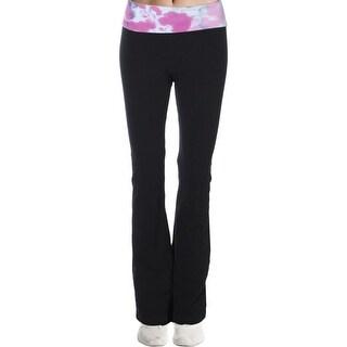 Hard Tail Womens Yoga Pants Knit Fold Over - XS
