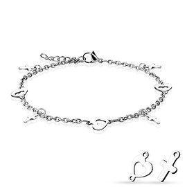 Heart and Cross Dangling Charms 316L Stainless Steel Chain Anklet/Bracelet (13.5 mm) - 9.25 in