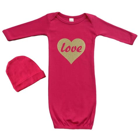 Baby Gown Set (Gown + Cap) - Love In Gold Heart