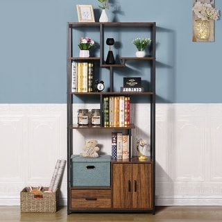 "Link to VECELO Modern Handcrafted  Wood Bookshelf with Cabint - 31""*16""*69"" Similar Items in Bookshelves"