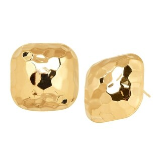 Just Gold Hammered Square Button Stud Earrings in 14K Gold - YELLOW