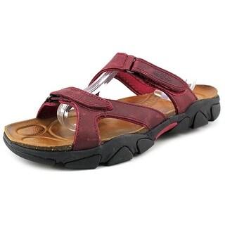Keen Sarasota Slide Women Open Toe Leather Burgundy Slides Sandal