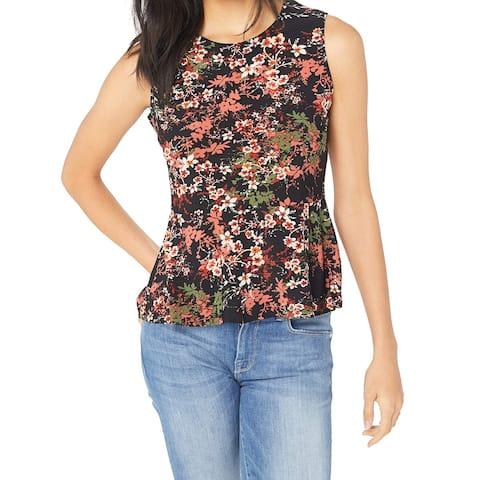 Nine West Women's Black Size XL Floral-Print Asymmetrical Blouse