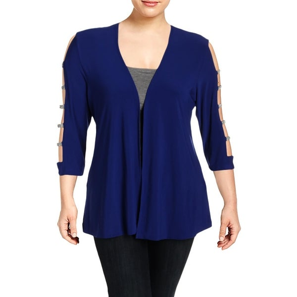 c9c7ba0e2dbf Shop MSK Womens Cardigan Top Matte Jersey Embellished - XL - Free Shipping  On Orders Over  45 - Overstock.com - 27384558