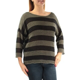 EILEEN FISHER $258 Womens New 1092 Navy Striped 3/4 Sleeve Boat Neck Top L B+B