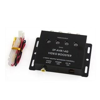 Car Auto Black 1 Input to 4 Output RCA AV Video Splitter Amplifier Booster