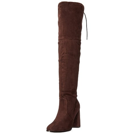 N.Y.L.A. Womens olygmagen Fabric Almond Toe Over Knee Fashion Boots - 7.5