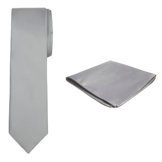 Jacob Alexander Solid Color Men's Tie and Hanky Set - One size