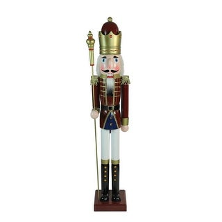 "48"" Decorative Red King Wooden Christmas Nutcracker with Scepter"