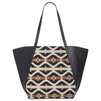 Danielle Nicole Tajo Womens Aztec Print Faux Leather Tote Bag Black