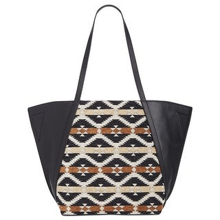 Danielle Nicole Tajo Womens Aztec Print Faux Leather Tote Bag Black