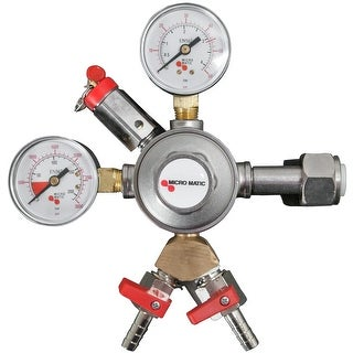 Micromatic 642-2 Premium Series Primary Double Gauge CO2 Regulator - 2 Kegs - STAINLESS STEEL - N/A