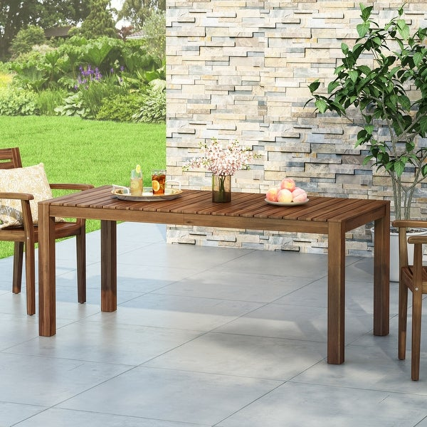 """Nola Outdoor Rustic Acacia Wood Dining Table by Christopher Knight Home - 69.00"""" W x 32.50"""" D x 29.50"""" H. Opens flyout."""