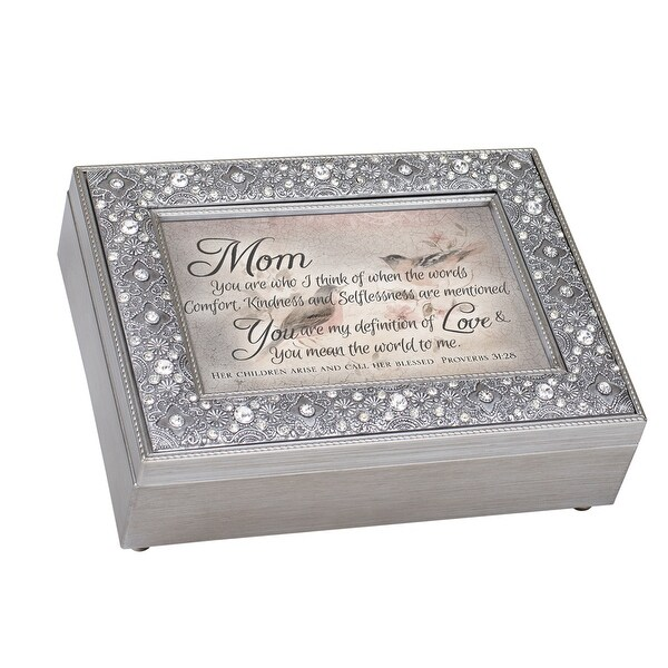 """8"""" Silver Colored and Black Mom's Love Themed Rectangular Music Box - N/A"""