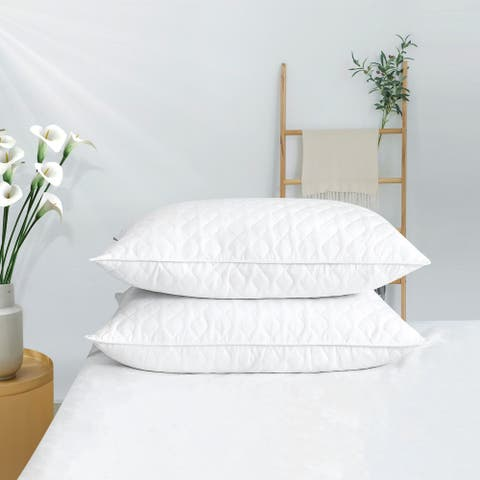2 Pack Firm Goose Down Feather Pillows for Side & Back Sleepers by Puredown White Quilted Cover