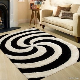 "AllStar Rugs Salt Pepper Shaggy Area Rug with 3D Spiral Design. Contemporary Formal Casual Hand Tufted (7' 6"" x 10' 5"")"