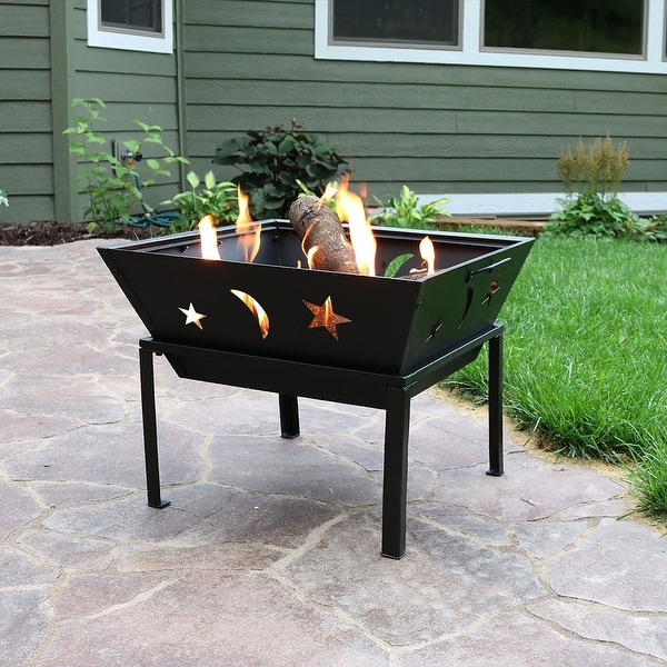 Sunnydaze 22 Inch Outdoor Square Stars & Moons Fire Pit with Spark Screen