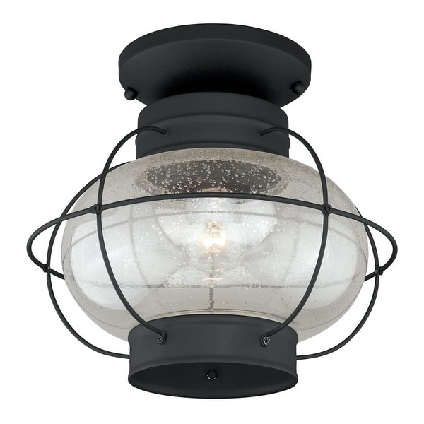 """Vaxcel Lighting T0144 Chatham 1-Light Semi-Flush Mount Outdoor Ceiling Fixture w/ Clear Seeded Glass Shade & Metal Guard - 13""""W"""