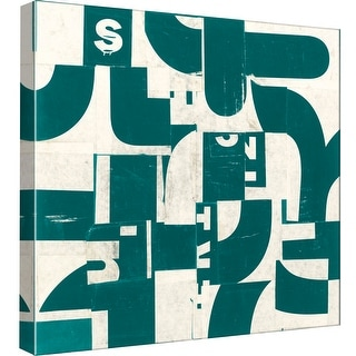 """PTM Images 9-98826  PTM Canvas Collection 12"""" x 12"""" - """"Collaged Letters Dark Green D"""" Giclee Abstract Art Print on Canvas"""