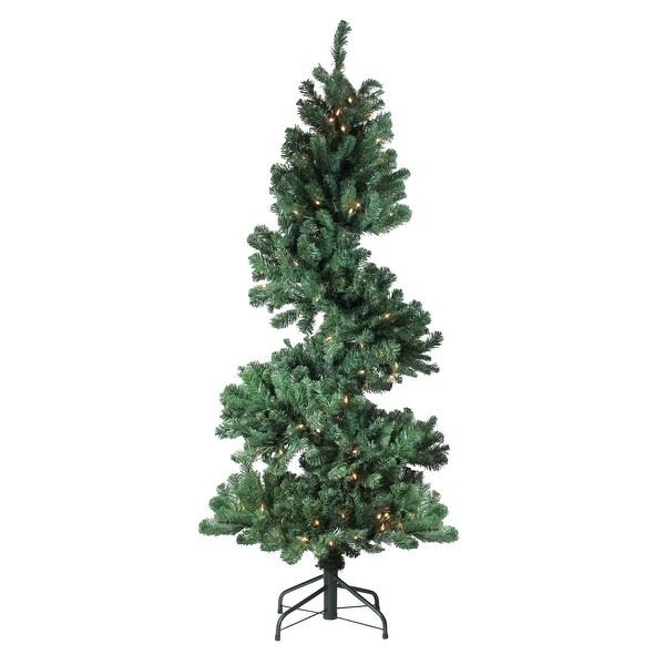 5.5' Pre-Lit Spiral Pine Artificial Christmas Tree - Clear Dura-Lit Lights - green