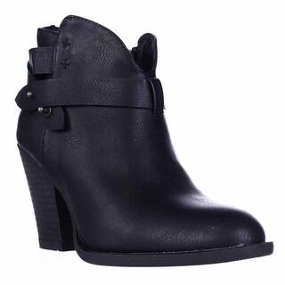 XOXO Karol Short Western Heeled Ankle Boots, Black