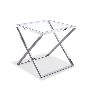 Side Table, Clear Glass, Stainless Steel Base