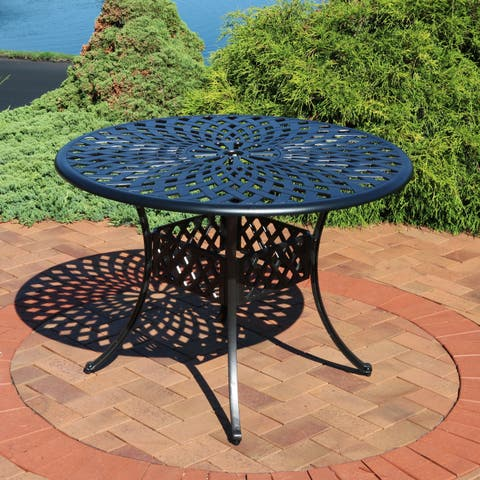 Sunnydaze Outdoor Patio Table - Cast Aluminum with Crossweave Design - 41-Inch