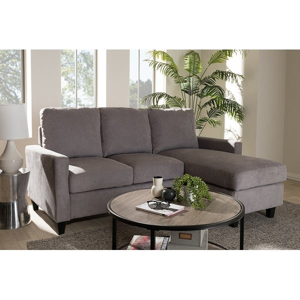 Grayson Light Grey Fabric Upholstered Sectional Sofa W Reversible Chaise