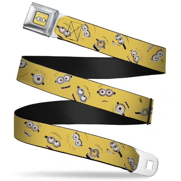 Minion Dave Face Close Up Full Color Minion Expressions Scattered Yellow Seatbelt Belt