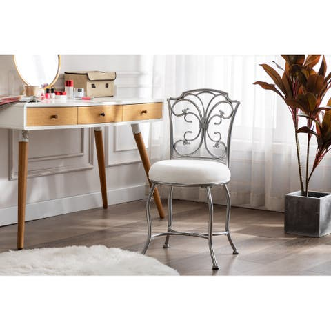 Porthos Home Samir Silver Iron Wrought Vanity Accent Chair, Suede