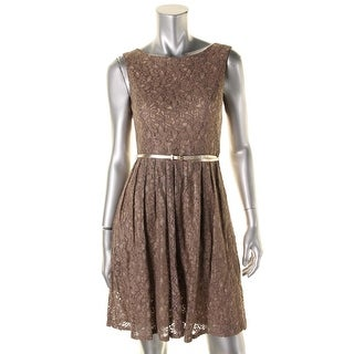 Ellen Tracy Womens Petites Metallic Lace Party Dress - 2p