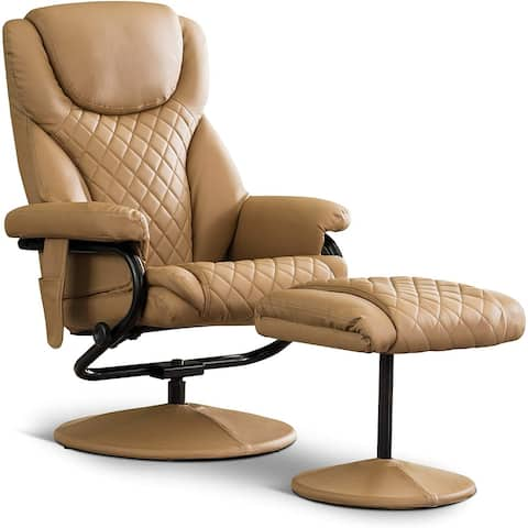 Mcombo Swivel Massage Recliner with Ottoman, Faux Leather, 4901
