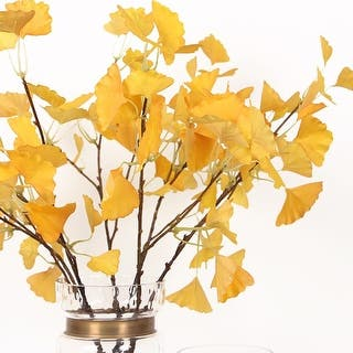 "G Home Collection Luxury Silk Yellow Ginkgo Stem 28"" Tall
