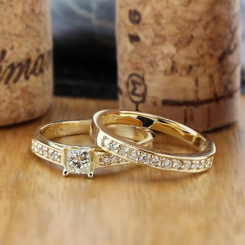 Auriya 14k Gold 1ctw Princess Cut Diamond Engagement Ring Set