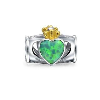 Claddaugh Bead Charm Irish Heart Crown Created Green Opal 925 Silver
