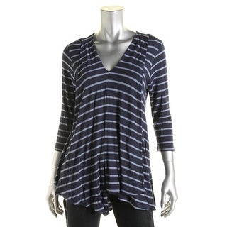 K&C Womens Striped V-Neck Tunic Top - L