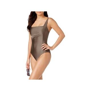 Calvin Klein Womens Shirred Summer One-Piece Swimsuit